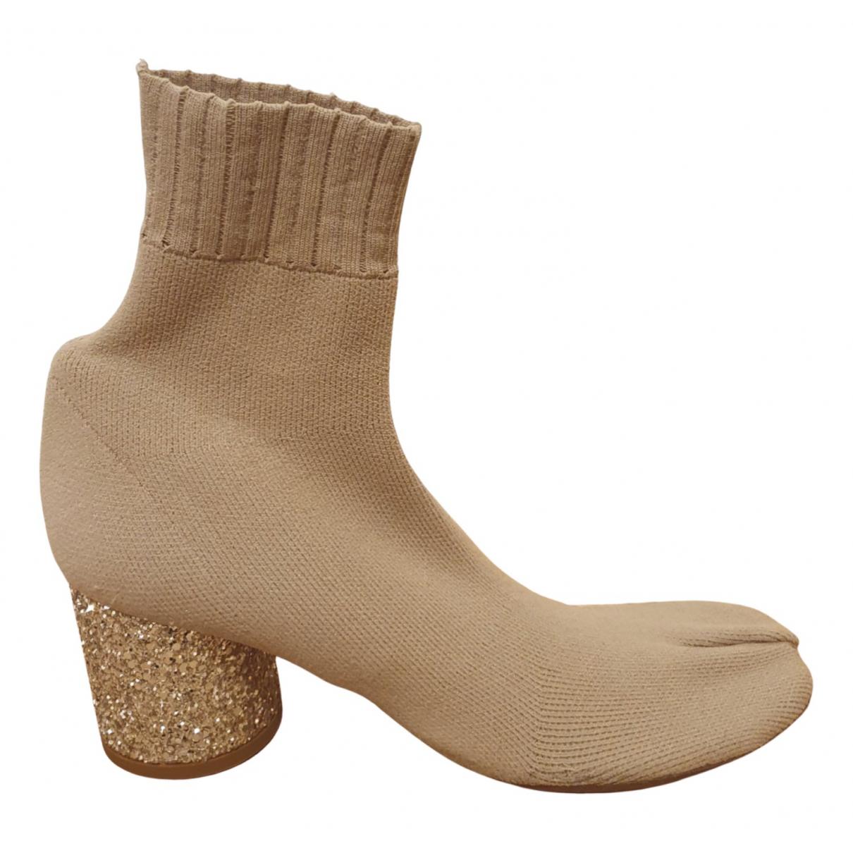 Maison Martin Margiela - Boots Tabi pour femme en toile - beige