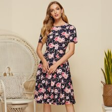 Simple Flavor Zip Back Allover Floral Print Dress