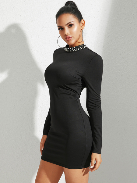 YOINS Black Backless Design Handmade Beaded Details Dress