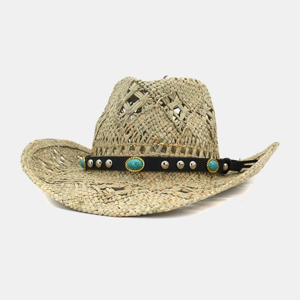 Salty Handmade Cowboy Hat Natural Straw Hat Sunscreen Sun Hat