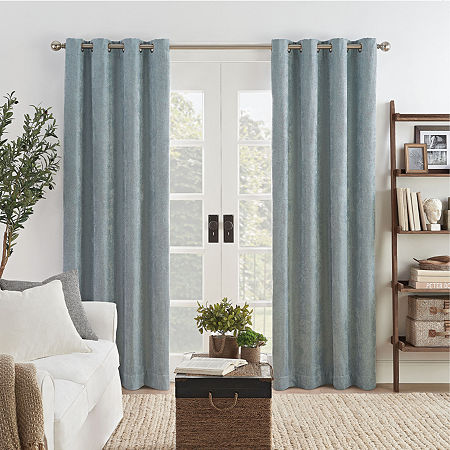 Eclipse Ambiance Draft Stopper Energy Saving 100% Blackout Grommet-Top Single Curtain Panel, One Size , Blue