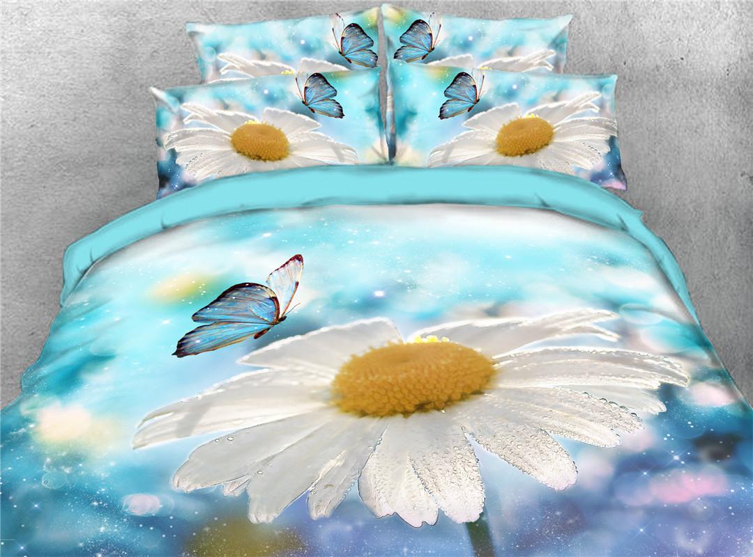 White Daisy Fresh Flower Butterflies Printed 5-Piece 3D Bedding Sets Duvet Covers Five-Piece Set Comforter Set Hand Wash Tencel Cotton Bedding Sets