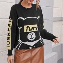 Drop Shoulder Letter & Cartoon Bear Graphic Sweater