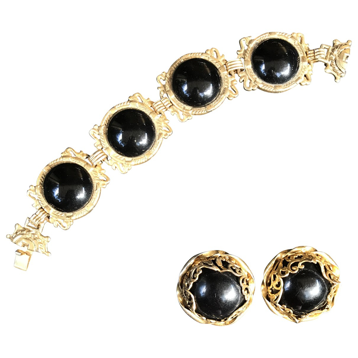 Non Signe / Unsigned Onyx Schmuck-set in  Gold Metall