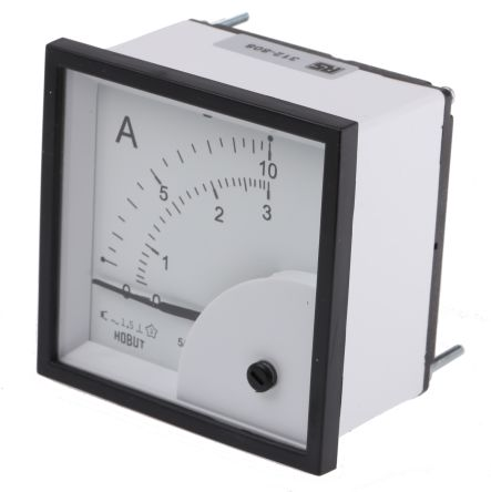 HOBUT D72SD Analogue Panel Ammeter FSD 0/5A Dual Scale 0/10A & 0/3A AC, 72mm x 72mm Moving Iron