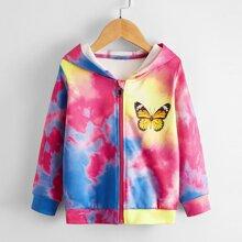 Toddler Girls Tie Dye Butterfly Print Hoodie