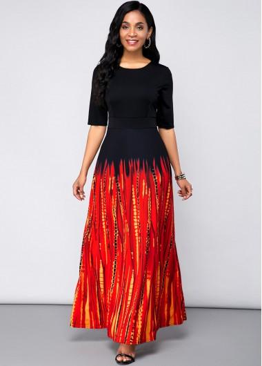 Black Dresses Round Neck Half Sleeve Printed Maxi Dress - XL