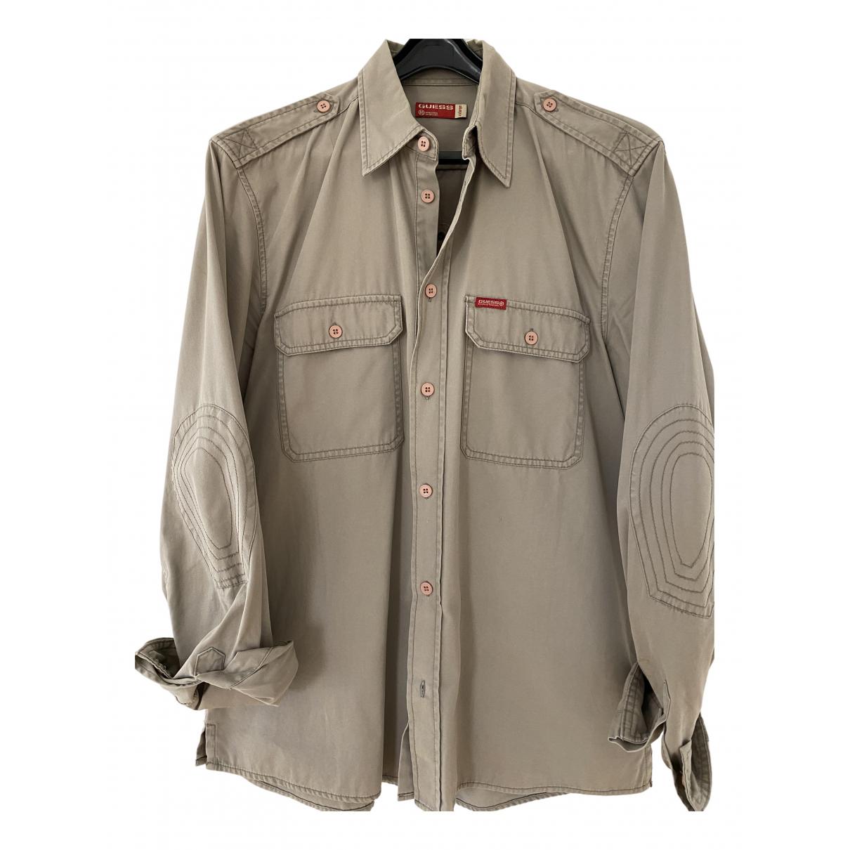 Guess - Chemises   pour homme en coton - beige