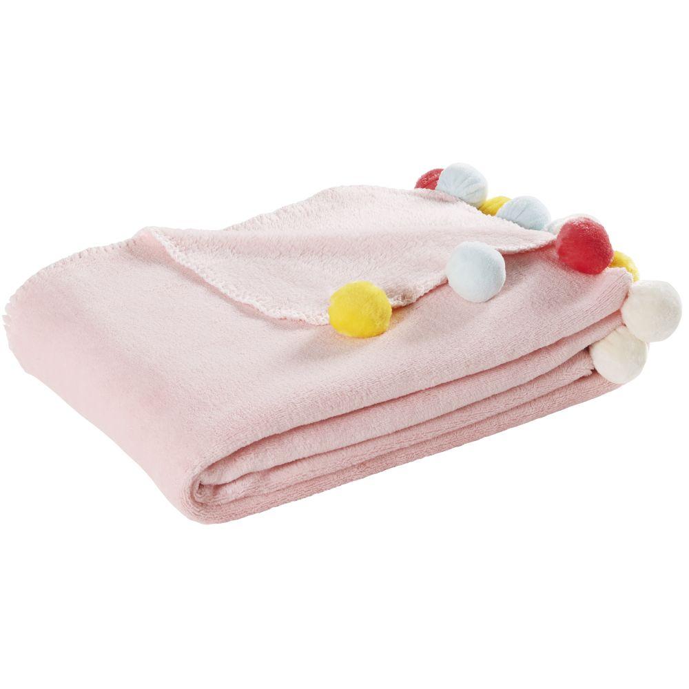 Decke mit Quasten, rosa 130x170