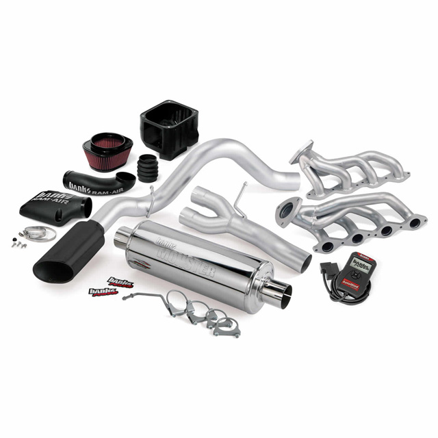 PowerPack Bundle Complete Power System W/AutoMind Programmer Black Tailpipe 09 Chevy 5.3L CCSB-ECSB FFV Flex-Fuel Vehicle Banks Power 48077-B