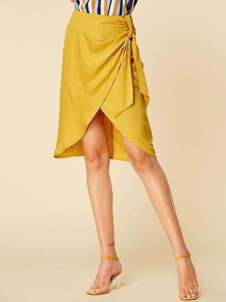 YOINS Yellow Self-tie Design Slit Hem Skirt