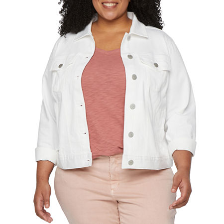 a.n.a-Plus Womens Lightweight Denim Jacket, 1x , White