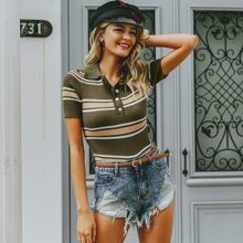 Striped Button Front Rib-knit Tee