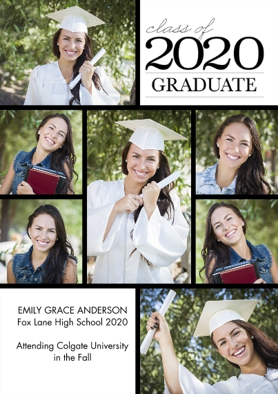 2020 Graduation Announcements 5x7 Cards, Standard Cardstock 85lb, Card & Stationery -2020 Graduation Collage by Tumbalina