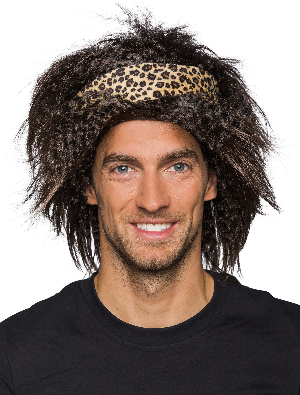 Kostuemzubehor Peruecke Urwald mit Haarband Farbe: schwarz