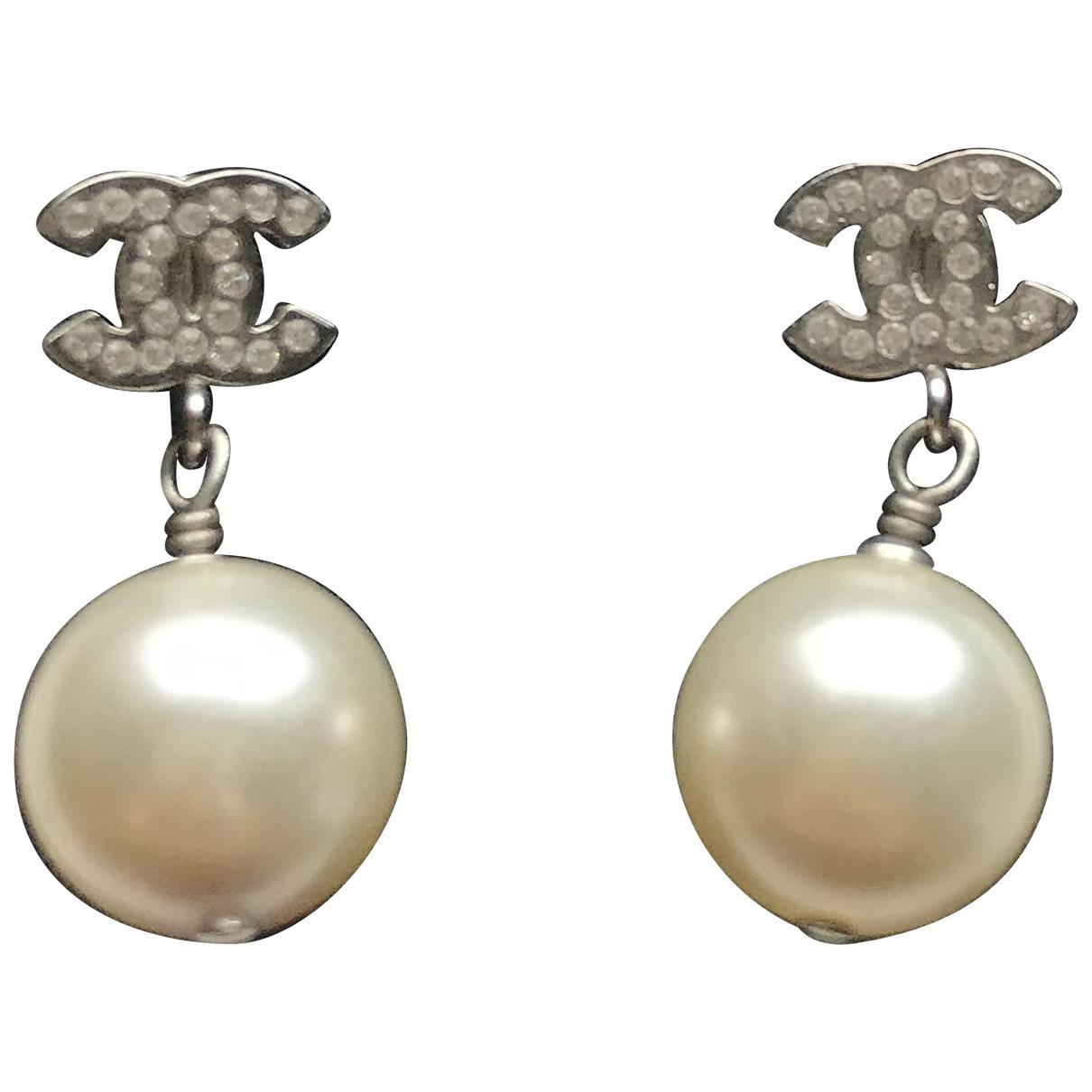 Chanel CC Silver Pearl Earrings for Women N