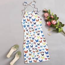 Butterfly Print Tie Back Dress