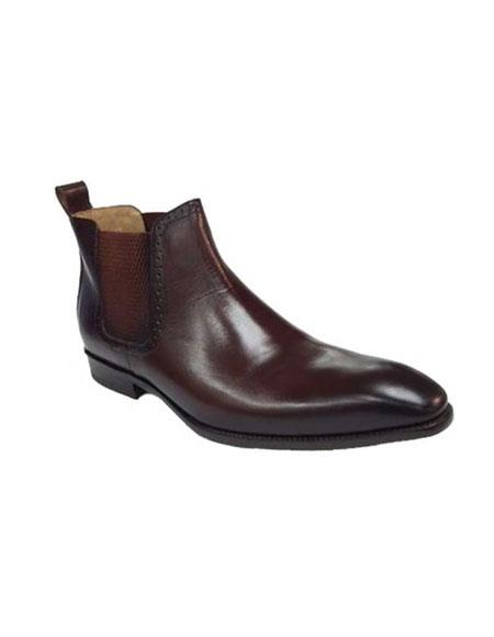 Men's Brown ~ Black Calfskin Slip-On Low-Top Chelsea Boots