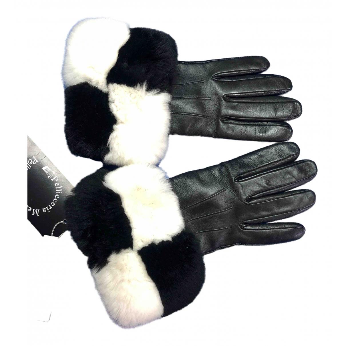 Pellicciai \N Black Fur Gloves for Women 7 Inches
