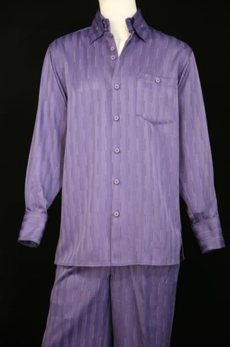 Mens Laser Stripes Long Sleeve Lavender Zoot Suit