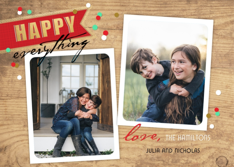Congratulations 5x7 Cards, Premium Cardstock 120lb with Scalloped Corners, Card & Stationery -Happy Everything Banner