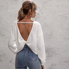 Rueckenfreies T-Shirt mit Twist und sehr tief angesetzter Schulterpartie