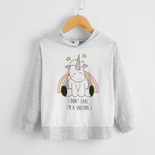 Toddler Girls Cartoon And Slogan Graphic Hoodie