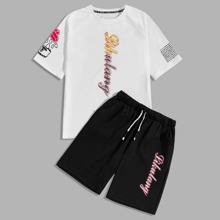 Men Letter Graphic Tee & Drawstring Waist Shorts