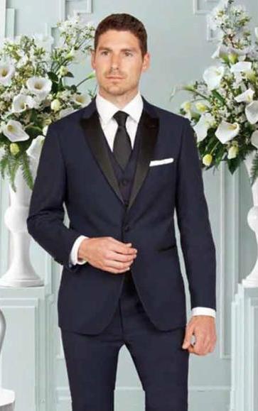 Men's 1 Button Slim Fit Satin Peak Lapel Vested Tuxedo Ink Blue