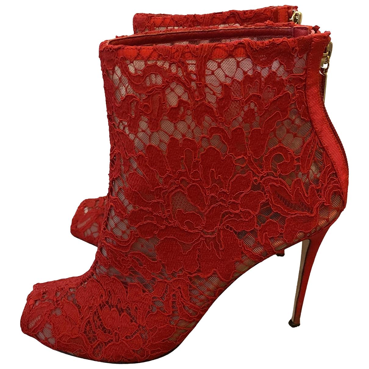 Dolce & Gabbana - Escarpins   pour femme en toile - rouge