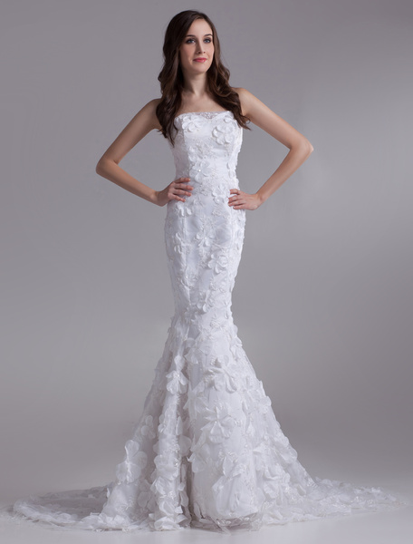 Milanoo Beautiful White Mermaid Strapless Beading Lace Bridal Wedding Dress