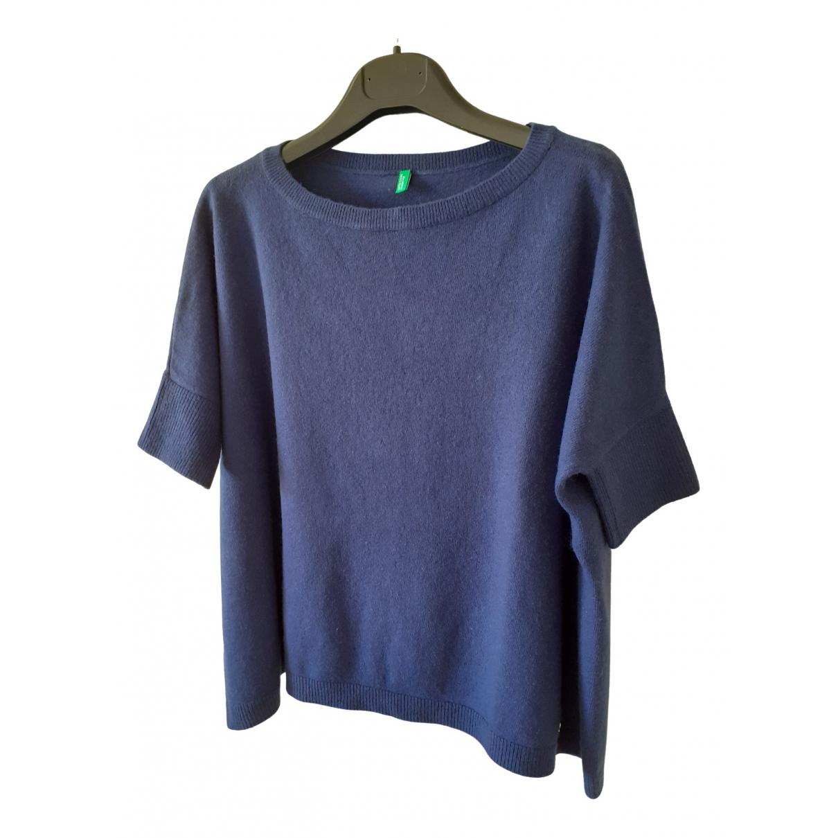 Benetton - Pull   pour femme en laine - bleu