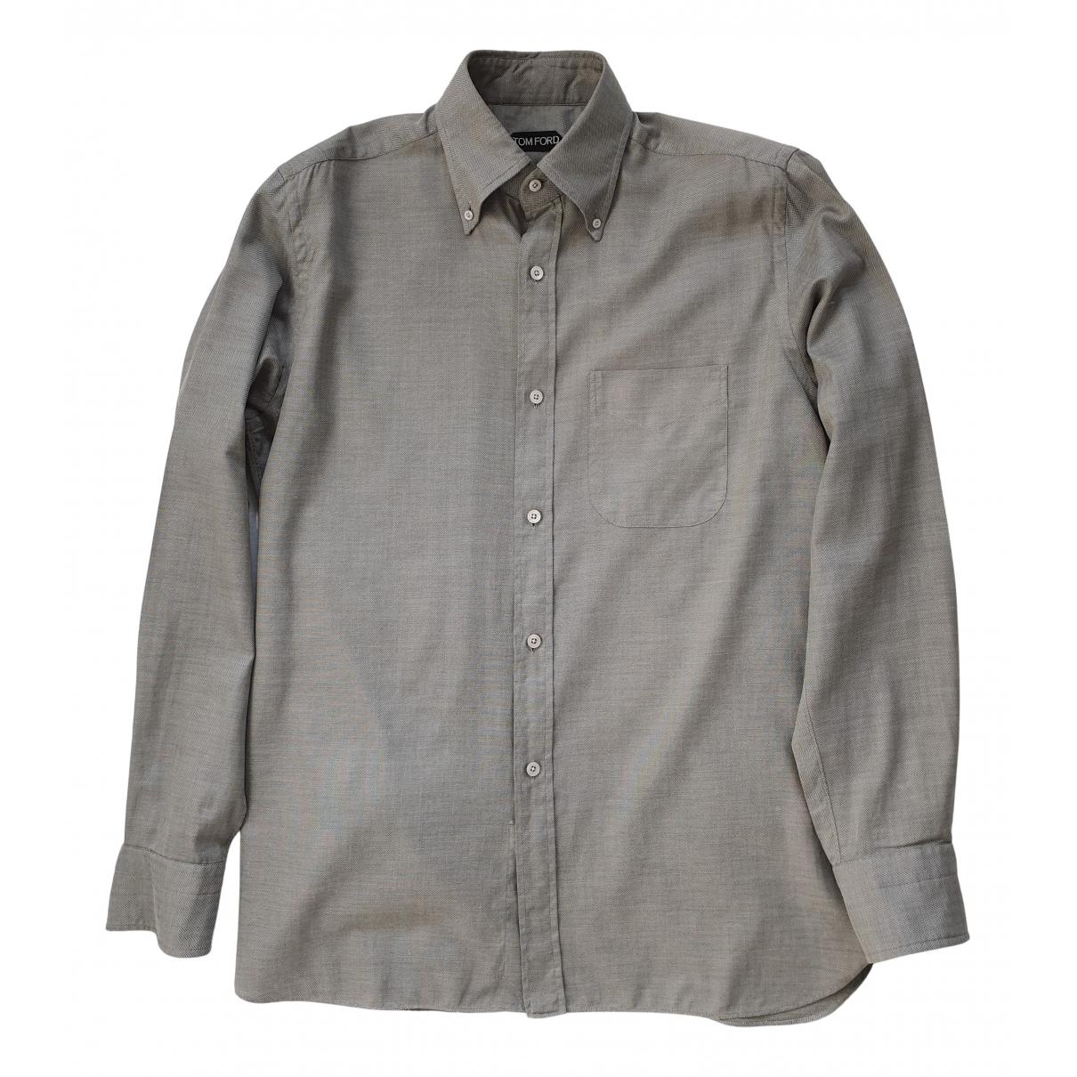 Tom Ford \N Grey Cotton Shirts for Men 40 EU (tour de cou / collar)