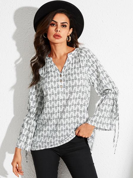 YOINS White Lace-up Design Geometric V-neck Long Sleeves Blouse