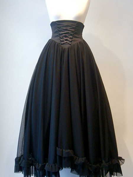 Milanoo Gothic Lolita SK Lace Up Black Lolita Skirts