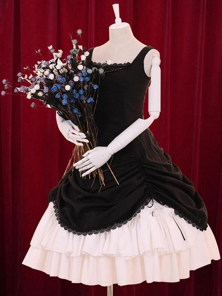 Milanoo Multicolor Lolita Dress Straps Tiered Cotton Dress