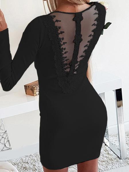 Yoins Black Lace Mesh Zip Front Backless V-neck Long Sleeves Dress