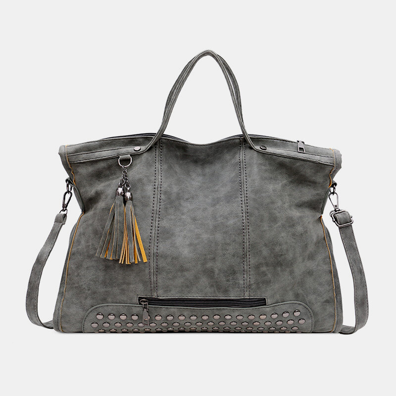Women Large Tassel Rivet Handbag Tote Bag