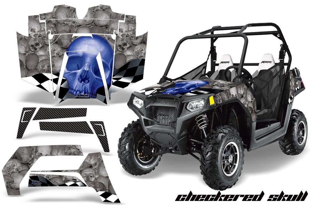 AMR Racing  Full Custom UTV Graphics Decal Kit Wrap Checkered Blue Polaris RZR 800 11-14