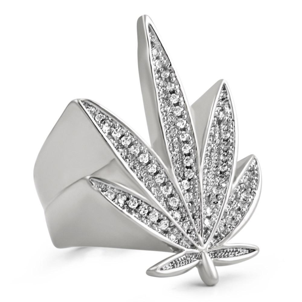 Marijuana Leaf 420 CZ Bling Bling Rhodium Ring