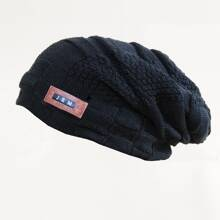 Guys Letter Patched Knit Beanie