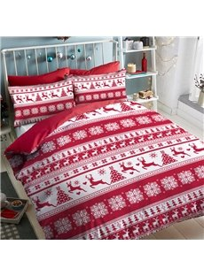 Red Christmas Snow And Deer Polyester 4-Piece Bedding Sets/Duvet Cover