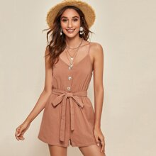 Button Front Belted Slip Romper