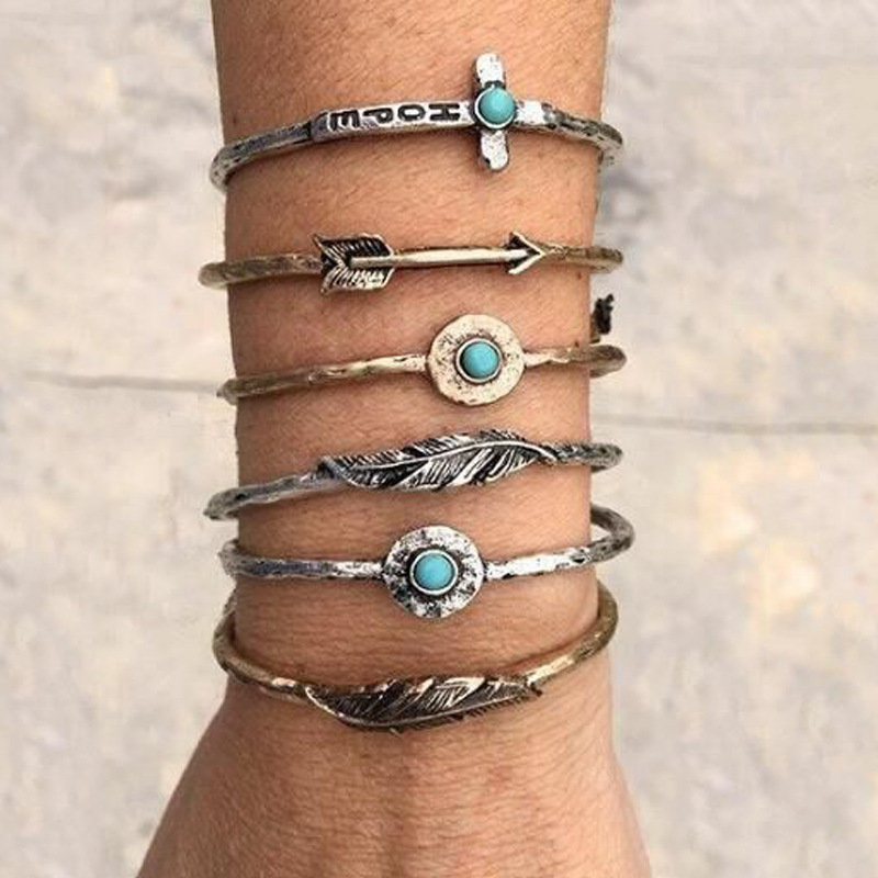 Vintage Geometric Circle Turquoise Bracelet Arrow Cross Feather Metal Bracelet Kit Bohemian Jewelry