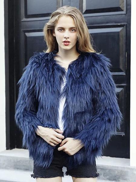 Milanoo Faux Fur Coat Women Fluffy Coat Solid Color Winter Coat