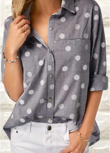 Rosewe Women Shirt Grey Polka Dot Long Sleeve Button Up - XXL