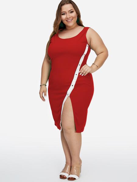 Yoins Plus Size Red Slit Design Sleeveless Bodycon Dress