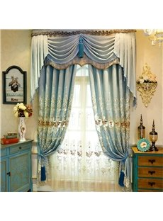 Modern and Pastoral Light Blue with Beautiful Flowers Breathable and Decorative Organza Sheer Curtain