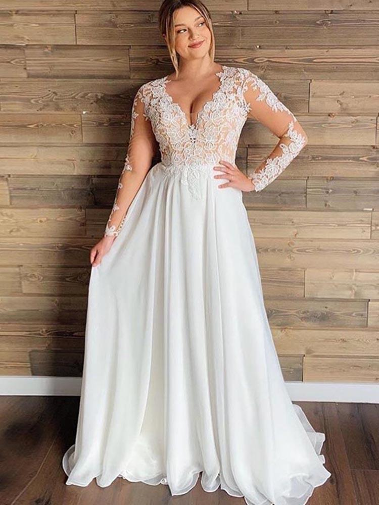 A-line Sheer Tulle Lace Wedding Gowns | Long Sleeve Floor Length Beach Bridal Gowns