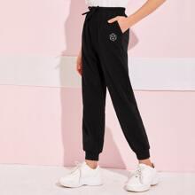 Girls Knotted Front Graphic Print Slant Pocket Sweatpants